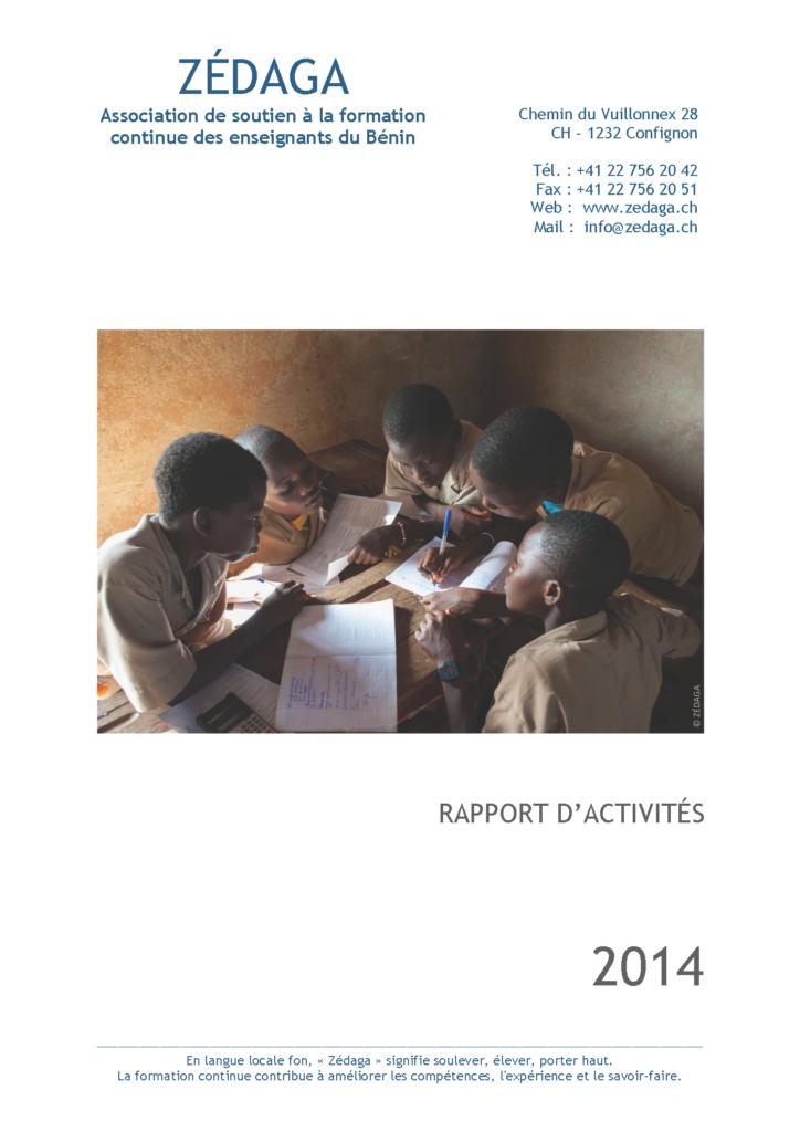 Zédaga - Rapport d'activités 2014 - Couverture
